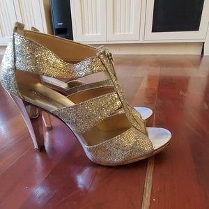 MK Michael Kors Berkeley glittery heels silver
